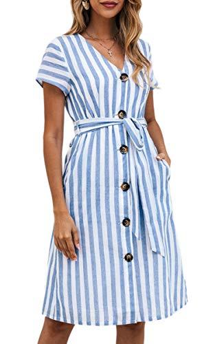 Gestreiftes Damenkleid Knöpfe - 25,99 €