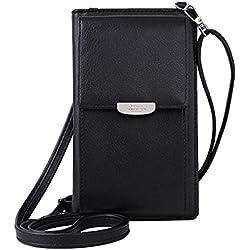 HMILYDYK Femmes Portefeuille Sac À Bandoulière En Cuir Porte-Monnaie Téléphone Portable Mini Pochette Porte-Carte Épaule Portefeuille Sac