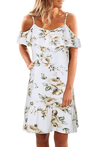 Chickwin Femmes Été Impression Floral décontractée Décolleté Ruffle épaule Robes de mariée à manches courtes (EU 40-42, Blanc)