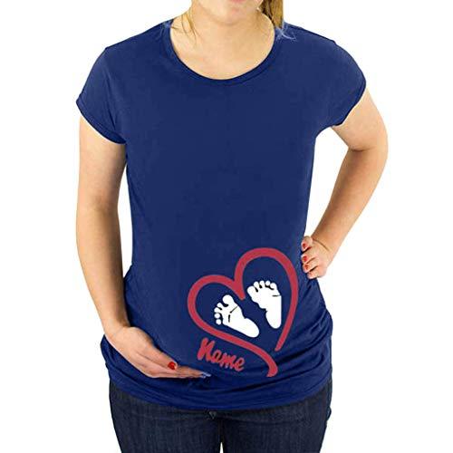 Lenfesh Umstandsmode T Shirt Damen Sommer Kurzarm Cute Mutterschaft Kleidung Love Gedruckt Baumwolle Schwangerschaft Tops Mutterschaft T-Shirt - Baumwolle Love Crewneck T-shirt