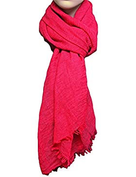 [Patrocinado]FIA MONETTI Estola de bufanda de mujer - Rojo - 180 x 70 cm - Bufanda con fucsias cortas en diferentes colores...