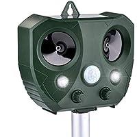 Sararoom Solar Katzenschreck Ultraschall abwehr mit Batteriebetrieben und Blitz Empfindlichkeit Wetterfest Hundeschreck Tiervertreiber