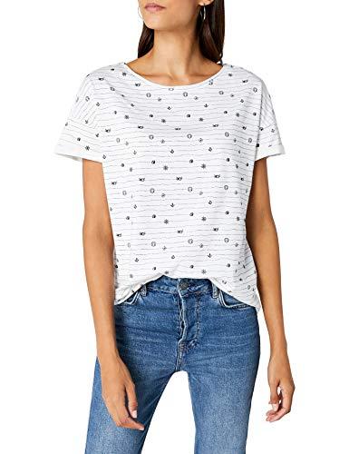 edc by ESPRIT Damen 038CC1K078 T-Shirt, per Pack Weiß (White 100), X-Large (Herstellergröße: XL)