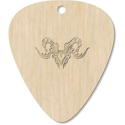 7 x 'Aries Ram Head' Engraved Guitar Picks / Pendants (GP00004804)