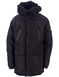 D-Struct Mens Thornate Trim Parka Jacket in Black- Zip Fastening- Popper Button Storm