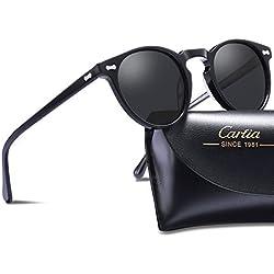 Carfia Gafas de Sol Polarizadas mujer hombre Retro Estilo gafas UV400 gafas de sol para conducir viajes playa (Marco Negro Con Lente Gris)