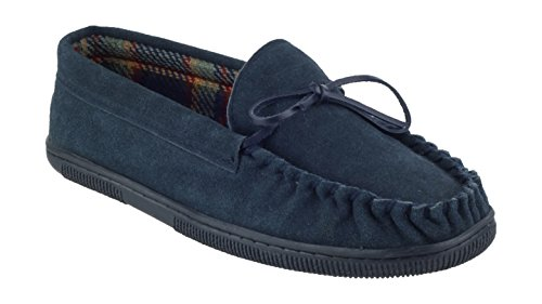Mirak Mens Alberta Suede Textile Lined Moccasin Style Slipper Brown Navy