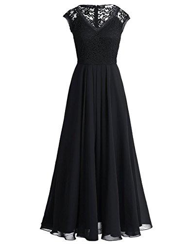 iiniim Damen Elegant Kleid V-Ausschnitt Brautjungfer Kleid Bodenlang Chiffon Kleid Festlich Party Hochzeit Abendkleid Cocktailkleid Schwarz