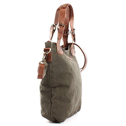 LECONI Henkeltasche Vintage Look Damentasche Handtasche Damen Shopper mit Schulterriemen Beuteltasche Canvas Leder 34x35x10cm LE0054-C grün / braun