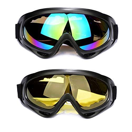 2 Stück Skibrille Snowboard Brille mit UV Schutz und Anti-Beschlag Damen Herren Skibrille Winddicht Ski-Schutzbrillen für Motorrad Fahrrad Skifahren Skaten Winter Outdoor Sport-Schutz (Gelb und bunt) (Gelbe Snowboard-schutzbrillen)