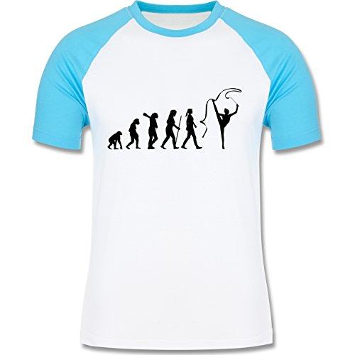 Evolution - Rhythmische Sportgymnastik Evolution - zweifarbiges Baseballshirt für Männer Weiß/Türkis