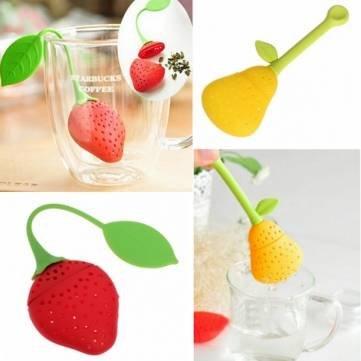 Birne Erdbeere-Form-Silikon-Tee-Sieb-Filter