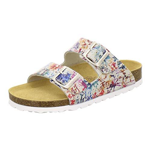 AFS-Schuhe 2100, Bequeme Damen Pantoletten echt Leder, praktische Arbeitsschuhe, Hausschuhe, Handmade in Germany Größe 42 Mehrfarbig (bunt)