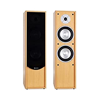 Auna Line 300-BH Passive 2-Way Tower Floorstanding Speakers (2 x 80W RMS, Bass Reflex, Gold Plated Speaker Connections) Beech