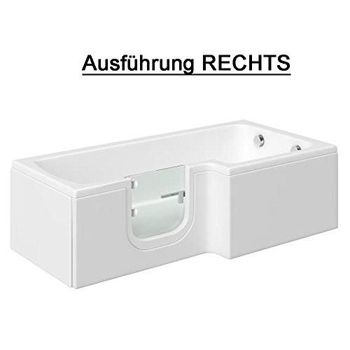 Badewanne mit Tür, Seniorenbadewanne 170×85/70x53cm mit Duschkabine,Wannenschürze und Ablauf/Sifon, Ausführung RECHTS