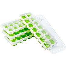 (4 Pack) TopElek Moules à Glace, Bac de Glaçons LFGB et BPA Free Silicone Certifié Glace Cube Tray Moisissures avec Couvercle Non-Déversement, Meilleur pour l'Eau Cocktails et Autres Boissons - Vert