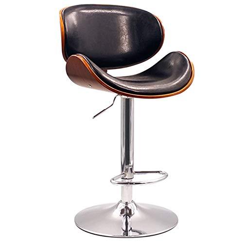 LIQICAI Barhocker Modernes Design PU Leder Verstellbare Barhocker Counter Height Swivel Hocker Barstühle, Mit Zurück, Fußstütze, 3 Farben (Farbe : Schwarz) - Schwarz Leder Swivel Counter Hocker