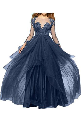 Ivydressing Damen schwarz sexuell bodenlang Tuell Spitze Applikation lange Aermel knopf gedeckt Abendkleid Partykleid Promkleid Navy