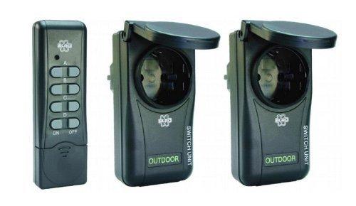 Funksteckdosen Set für Innen und Außen mit Deckel IP44 2x Funksteckdose, 1x Fernbedienung