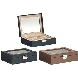LUXOR 10er Uhrenbox Uhrenkoffer in LederOptik Saviano Prägung klassisch edel