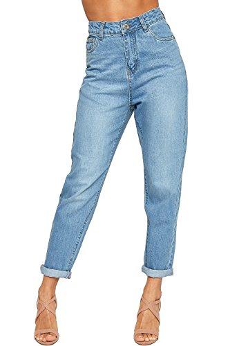 Wearall Women's High Waisted Turn Up Faded Straight Leg Denim Ladies Boyfriend Jeans 6-16