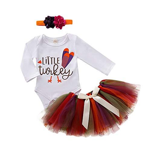 Coversolate Erntedankfest Kostüm Neugeborenes Mädchen Strampler + Rock + Haarband/Overalls + Türkei Tutu Röcke 0-24 Monate