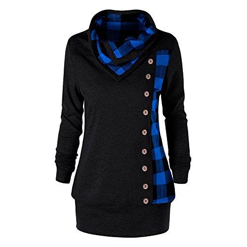 quality design ff8f3 eb722 YTJH Rosegal Felpa Donna Sportiva Pullover Elegante Giacca Cappotto Camicia  Maniche Lunghe Griglia Aulsante Inverno Autunno Ragazza Collo Alto Scollo  ...