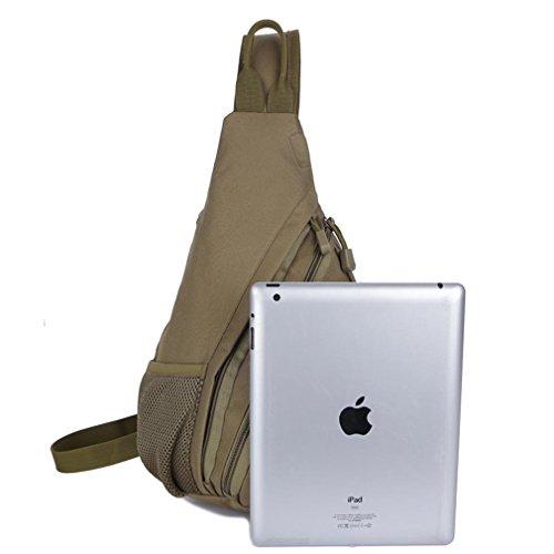 F@Esercito ventilatore diagonale petto svago singola borsa a tracolla, Zaini portatili portatili tattici, petto Pack outdoor trekking impermeabile Digital Camo, pacchetto ciclismo Camo , khaki desert
