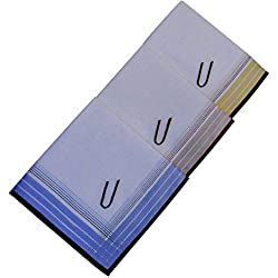 3 Stück Herren-Monogrammtaschentücher | Baumwolle mit farbiger Satinkante | Im Klarsichtkanton | In blau und wein-rot | Freie Monogrammwahl (U)