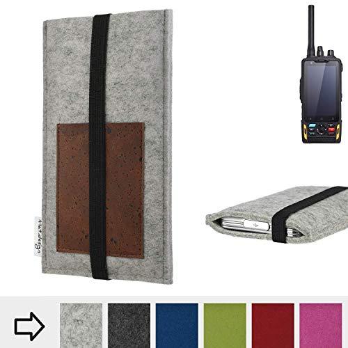 für Ruggear RG760 Handyhülle Case SINTRA mit Kartenfach (Braun) und Gummiband-Verschluss (schwarz) - maßgefertigte Smartphone Tasche Schutz Hülle aus 100% Wollfilz (hellgrau) für Ruggear RG760