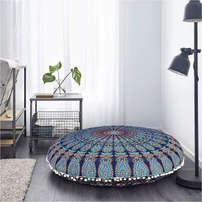 Heyrumbh Handicrafts Tapestry Peacock Wing Mandala Round Psychedelic Bohemian - Boho Hippie Small Gypsy Cotton Soft Cozy Floor Pouf Pillows Cover Without Filler (Blue, 22 Inches) Royal Blue Round Table Cover