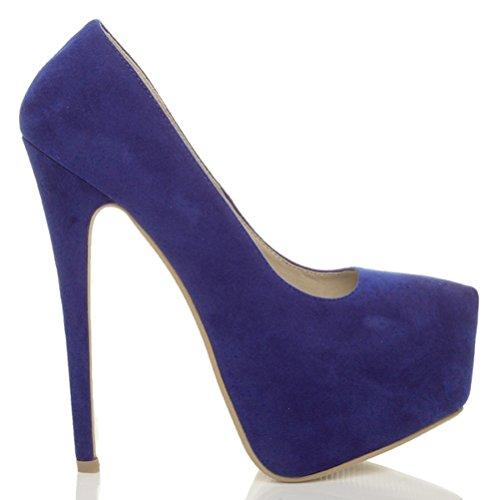 Escarpins de fête à talons hauts et plateforme cachée femmes chaussures taille Daim bleu marine