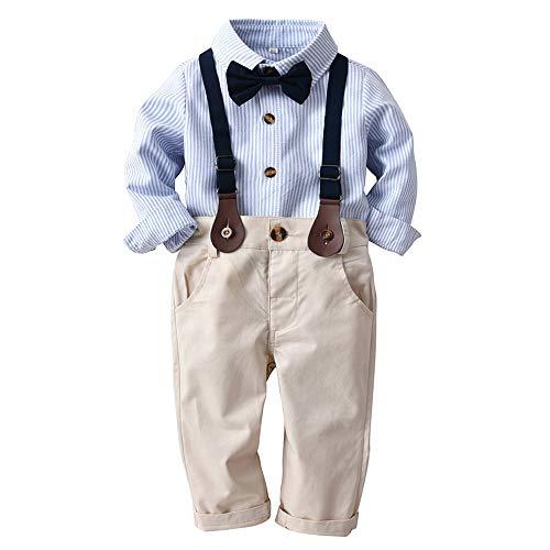 Kleinkind Kleidung Set mit Hosenträgern und Bowknot,4tlg Baby Jungen Bekleidungssets Hemd + Hose + Riemen + Fliege Krawatte,Kinder Anzug Gentleman Festliche Hochzeit Langarm Body für Frühling ()