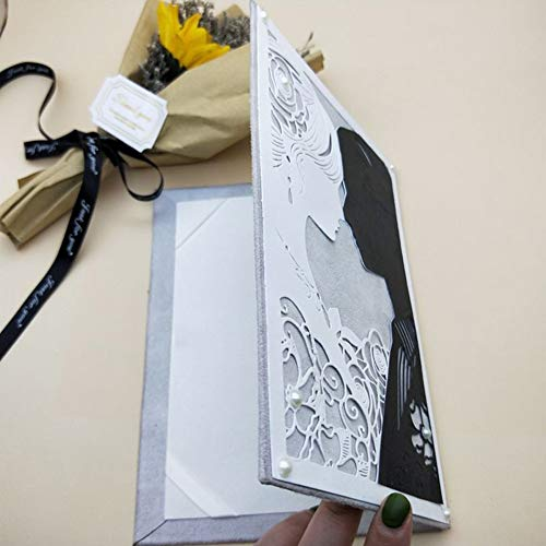 Lai-LYQ Stanzmaschine Stanzschablone, Braut Bräutigam Scrapbooking Prägeschablonen Papier Handwerk Festival Dekor Geschenk Silver -