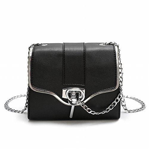 Freizeit-Kette Tasche Einfach Wilde Retro Kleine Quadratische Tasche Messenger Umhängetasche,Grey-M Laidaye