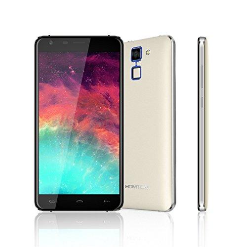 HOMTOM HT30 - Ultra schlank Fliesenfarbe 5.5 Zoll Android 6.0 Smartphone MTK6580 1.3GHz Quad Core 1GB RAM 8GB ROM Fingerabdruck 8MP Dual SIM 3000mAh Akku (Weiß)