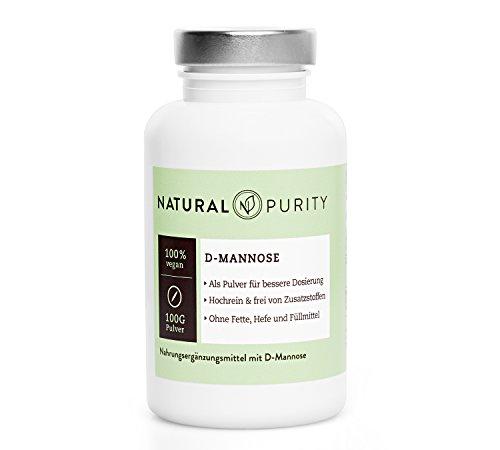 D-Mannose Pulver - 100g - Zur Entgiftung bei Blasenentzündungen - 100% naturbelassen, rein & ohne Zusatzstoffe, Fette, Hefen oder Füllmittel - Einfache Dosierung - Natural Purity