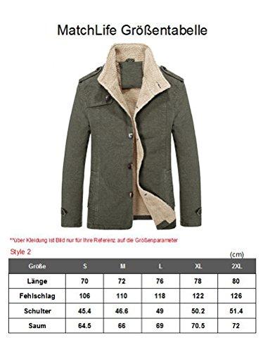 MatchLife Herren Wollmantel Wintermantel WinterJacket Herren Mantel Jacke Männer Parka Style2-Schwarz