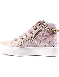ASSO Scarpe Kids Sneakers a Collo Alto camoscio Rosa AG-122-PINK fbeabf0b486