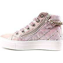 ASSO Scarpe Kids Sneakers a Collo Alto camoscio Rosa AG-122-PINK d4e9d468bfa