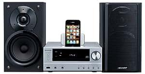 Sharp XLHF201PHS Micro-chaîne CD/mp3/wma avec Station d'accueil pour iPod USB 2 x 50 W RMS