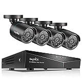SANNCE 8CH HD-TVI 720P Système de Vidéo Surveillance DVR Enregistreur Vidéo avec 4 Caméra de Sécurité Intérieur/Extérieure Vision Nocturne Accès à Distance par Smartphone NO HD