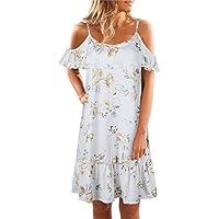 XINGMU Il Manicotto Corto O-Collo Floral Abiti Estivi Spiaggia Mini Dress  Chiffon Donne Bianco 296fb5d9095