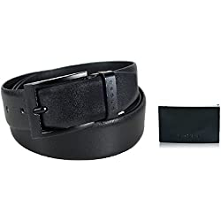 CROSS Men's Leather Belt with an Extra Buckle Combo - Black - Large