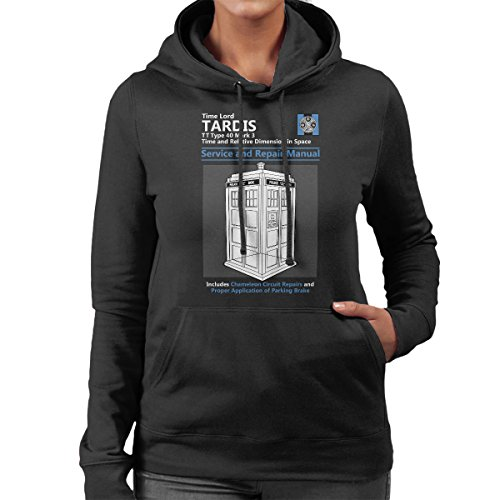 Doctor Who Tardis Service And Repair Manual Women's Hooded Sweatshirt Black