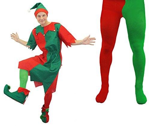KOSTÜM ELF, GRÜN, ROT, TIGHTS LONG TUNIKA CHEEKY ELF SANTA'S LITTLE HELPER ELFEN GRÖSSEN: XS-XXXL Gr. X-Small, Rot - - Little Christmas Elf Kostüm