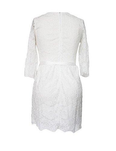 PU&PU Robe Aux femmes Gaine Street Chic,Couleur Pleine Col Arrondi Au dessus du genou Polyester BLACK-L