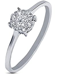 Silvernshine 0.15 Cts Round Cut Sim Diamond Wedding Engagement Ring In 14KT White Gold PL