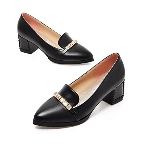 VogueZone009 Femme Mosaïque Pu Cuir à Talon Correct Pointu Tire Chaussures Légeres Noir