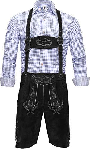 Crone Ludwig Herren Trachtenlederhose Original Bayerische Lederhose Tracht Trachtenhose Oktoberfest Wiesn in vielen Farben von Gr. 46-60 (60, Schwarz (Wildleder))